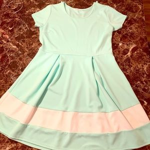 Fit and flare teal dress